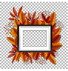 Picture frame with orange leaves in background vector