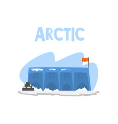 Polar station expedition to the arctic vector