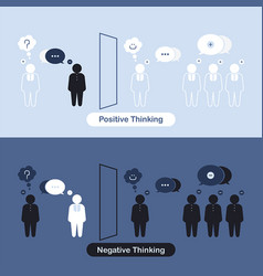 positive thinking and negative thinking concept vector image