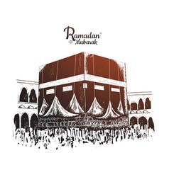 Ramadan mubarak holy kaaba hand drawn isolated vector