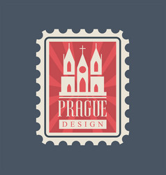 Rectangular postage stamp with prague church of vector