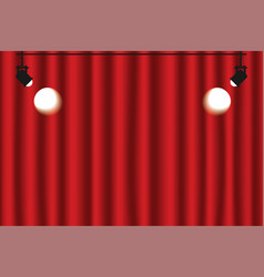 Red curtain background with spotlights luxury red vector