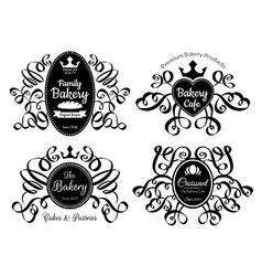 Retro Black Bakery Logo Labels Set vector image