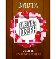 Rose petals circle Beautiful wedding invitation on vector image