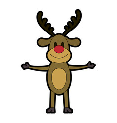 Rudolph the red nose reindeer christmas character vector