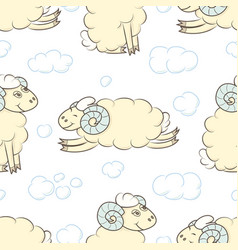Seamless pattern background with cute sheep vector