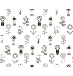 Seamless pattern flowers with background vector