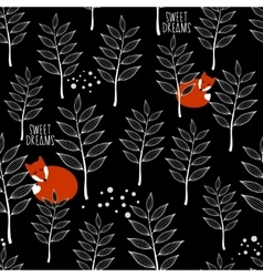Seamless pattern with sleeping fox and winter vector