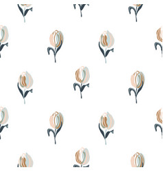 seamless tulips spring flowers vector image