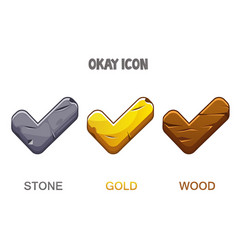 Set checkmark icons golden stone wooden vector