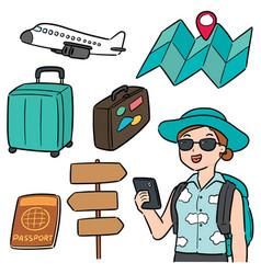 set of traveler vector image