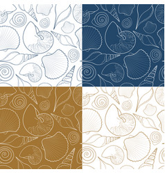 set summer seamless patterns with sea shells vector image