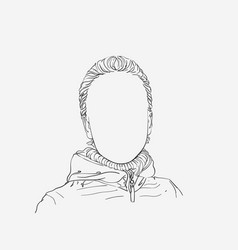 Sketch girl portrait with no face vector