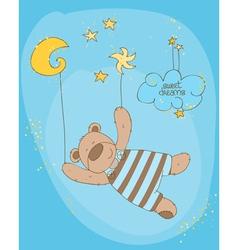 Sleeping baby bear cute card vector