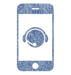 smartphone operator contact head fabric textured vector image