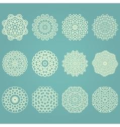Snowflake winter geometric vintage set vector