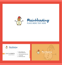 snowman logo design with tagline front and back vector image