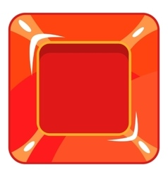 Square red button icon cartoon style vector image