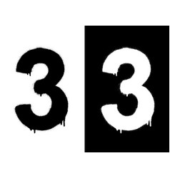 stencil numeral 3 and drip paint black on white vector image