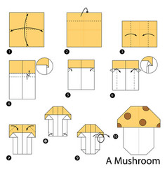 Step instructions how to make origami a mushroom vector