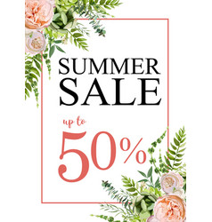 summer sale banner background with pink garden vector image
