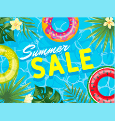 summer sale top view swimming pool with rings vector image
