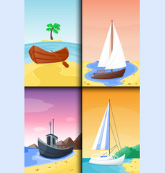 Summer time boat vacation nature tropical beach vector