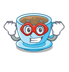 super hero cup milk tea above cartoon table vector image