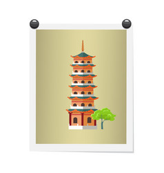 taiwanese tall building on isolated image on white vector image