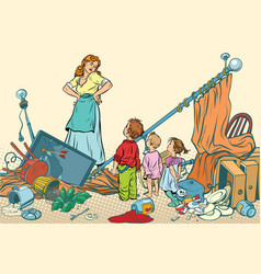 Terrible mother and the kids made a mess at home vector