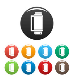 thermos bottle icons set color vector image