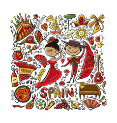 travel to spain greeting card for your design vector image