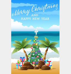 Tropical christmas beach sand palm trees boxes vector