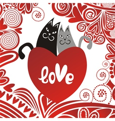 Valentines day card cats heart vector image