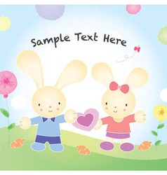valentines rabbit cartoon vector image
