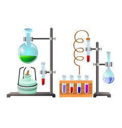 Vials with liquid reagents chemistry lesson in vector