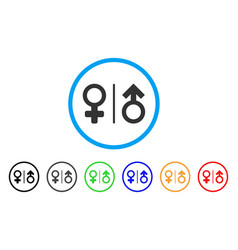 Wc gender symbols rounded icon vector