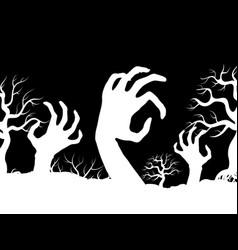 White horror zombi hands and tree silhouettes vector