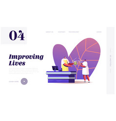 woman buying food in grocery store landing page vector image