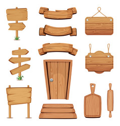Wooden signboards doors vector