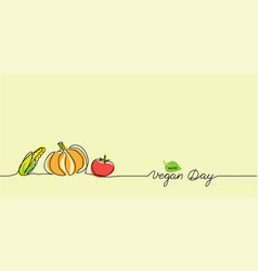 world vegan day border background simple color vector image
