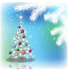 Abstract blue background with Christmas tree and vector image