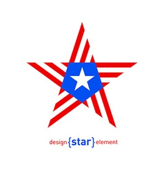 Abstract design element star with Puerto Rico flag vector image
