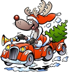 Hand-drawn of an Reindeer Driving Car vector image vector image