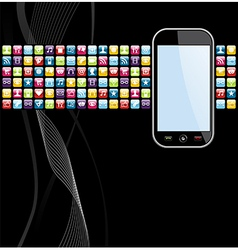 Mobile phone apps icons background vector image vector image