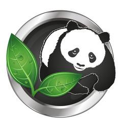 panda and green leaves symbol vector image