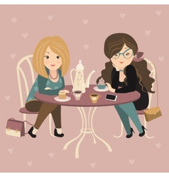 Two fashion girls chatting at a cafe vector image vector image