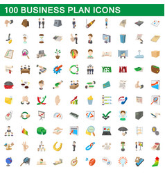 100 business plan icons set cartoon style vector image vector image