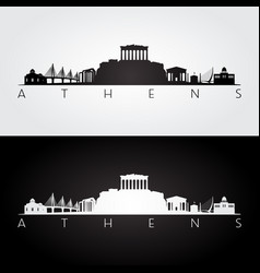 athens skyline and landmarks silhouette vector image vector image