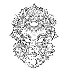 carnival mask coloring vector image